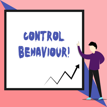 Text sign showing Control Behaviour. Business photo text Exercise of influence and authority over huanalysis conduct View young man standing pointing up blank rectangle Geometric background