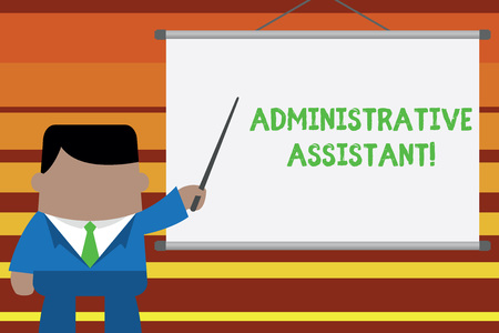 Word writing text Administrative Assistant. Business photo showcasing Administration Support Specialist Clerical Tasks Businessman standing in front projector screen pointing project idea