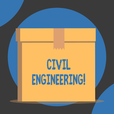 Handwriting text Civil Engineering. Conceptual photo Planning Design Building of roads bridges public buildings Close up front view open brown cardboard sealed box lid. Blank background