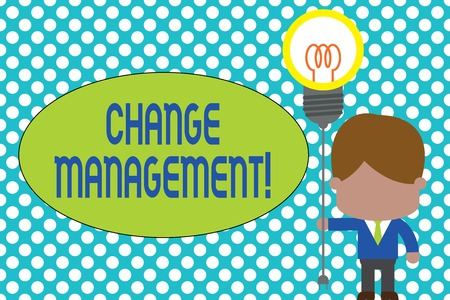 Word writing text Change Management. Business photo showcasing Replacement of leadership in an organization New Policies Standing man tie holding plug socket light bulb to connect idea. Startup