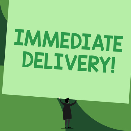Handwriting text writing Immediate Delivery. Conceptual photo Send it Now Custom Procedure to dispose Promptly Back view standing short hair woman dress hands up holding blank rectangle Stock fotó