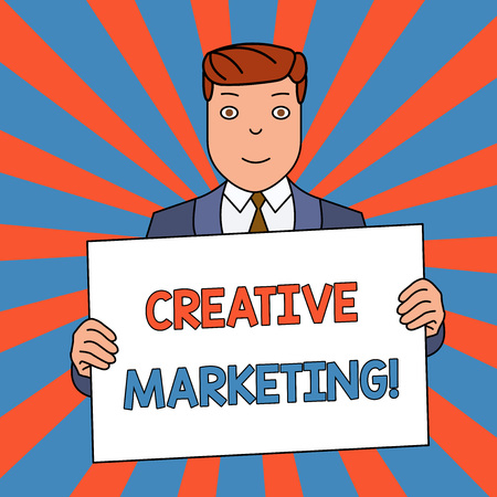 Word writing text Creative Marketing. Business photo showcasing Campaigning to meet the advertising requirements Smiling Man Holding Formal Suit Big Blank Poster Board in Front of Himself