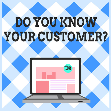 Word writing text Do You Know Your Customer Question. Business photo showcasing service identify clients with relevant information Open Modern Laptop Switched On with Website Homepage on Screen Web Search Banco de Imagens