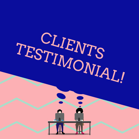 Word writing text Clients Testimonial. Business photo showcasing Formal Statement Testifying Candid Endorsement by Others Man with purple trousers sit on chair talk to fellow near computer table