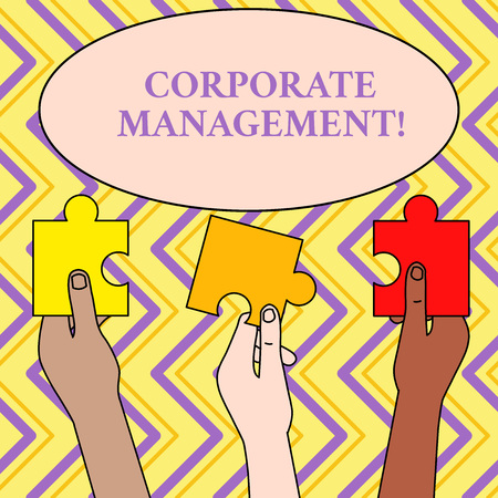 Writing note showing Corporate Management. Business concept for all Levels of Managerial Personnel and Excutives Three Colored Empty Jigsaw Puzzle Pieces Held in Different People Hands