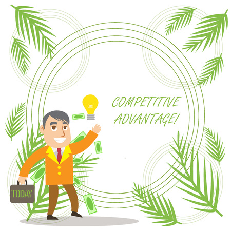 Conceptual hand writing showing Competitive Advantage. Concept meaning Company Edge over another Favorable Business Position Successful Businessman Generating Idea or Finding Solution