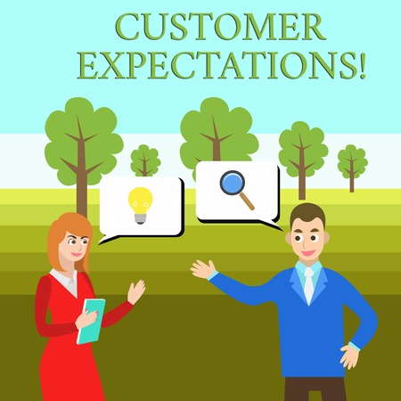 Word writing text Customer Expectations. Business photo showcasing Benefits a Client Expect Surpass the needs and wants Business Partners Colleagues Jointly Seeking Problem Solution Generate Idea Stock fotó