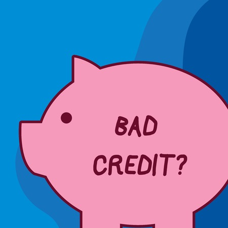 Conceptual hand writing showing Bad Credit Question. Concept meaning history when it indicates that borrower has high risk Fat huge pink pig plump like piggy bank with ear and small eye