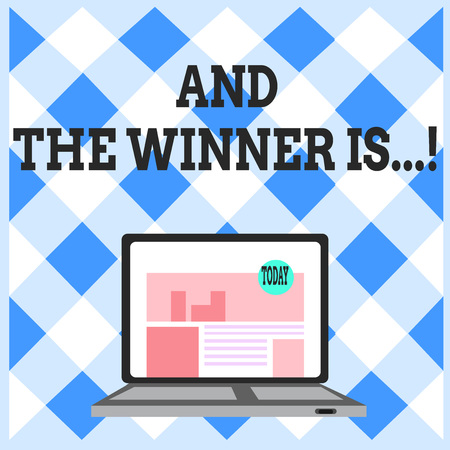 Word writing text And The Winner Is. Business photo showcasing announcing who got first place at competition or exam Open Modern Laptop Switched On with Website Homepage on Screen Web Search Banco de Imagens