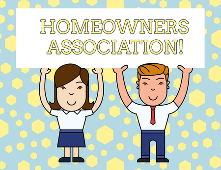 Word writing text Homeowners Association. Business photo showcasing Organization with fee for upkeeps of Gated Community Two Smiling People Holding Big Blank Poster Board Overhead with Both Hands