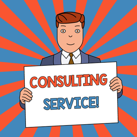 Word writing text Consulting Service. Business photo showcasing Experts that offers knowledge to a third party for a fee Smiling Man Holding Formal Suit Big Blank Poster Board in Front of Himself Stock fotó