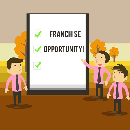 Writing note showing Franchise Opportunity. Business concept for Business License Privilege Owner to Dealer Affiliation Business Colleagues Discuss Missions Presentation Whiteboard Ticks