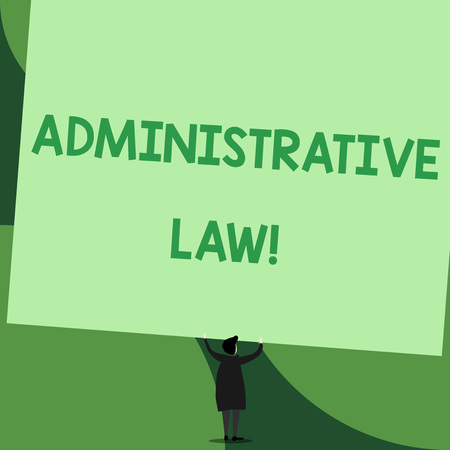 Handwriting text writing Administrative Law. Conceptual photo Body of Rules regulations Orders created by a government Back view standing short hair woman dress hands up holding blank rectangle