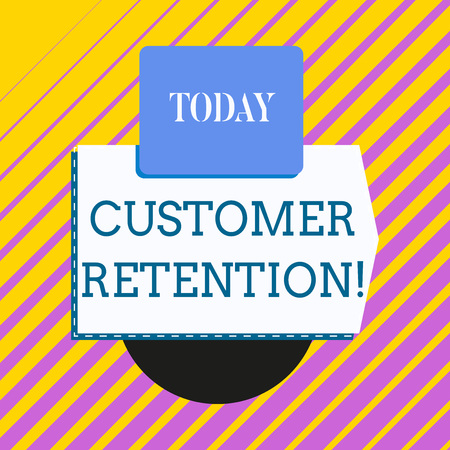 Conceptual hand writing showing Customer Retention. Concept meaning Keeping loyal customers Retain analysisy as possible Electronic device with non symmetrical triangle for printing Stockfoto