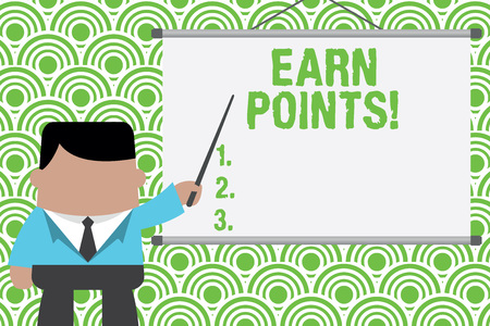 Text sign showing Earn Points. Business photo text collecting big scores in order qualify to win big prize Businessman standing in front projector screen pointing project idea