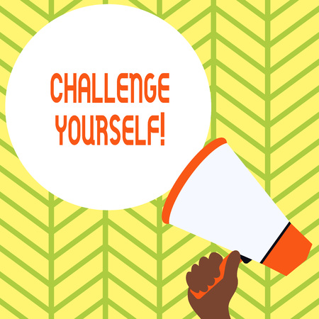 Conceptual hand writing showing Challenge Yourself. Concept meaning Setting Higher Standards Aim for the Impossible Hand Holding Loudhailer Speech Text Balloon Announcement New Archivio Fotografico