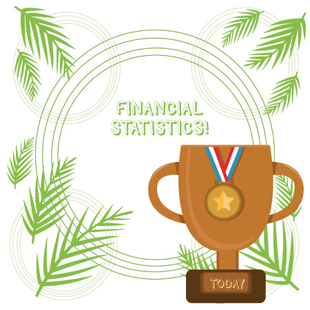 Conceptual hand writing showing Financial Statistics. Concept meaning Comprehensive Set of Stock and Flow Data of a company Trophy Cup on Pedestal with Plaque Medal with Striped Ribbon