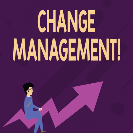 Word writing text Change Management. Business photo showcasing Replacement of leadership in an organization New Policies Businessman with Eyeglasses Riding Crooked Color Arrow Pointing Going Up