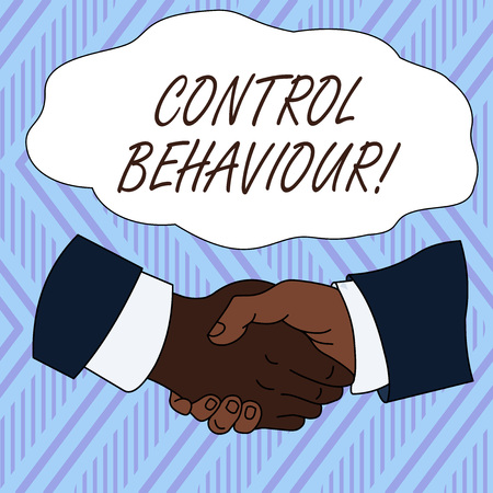 Conceptual hand writing showing Control Behaviour. Concept meaning Exercise of influence and authority over huanalysis conduct Hand Shake Multiracial Male Colleagues Formal Shirt Suit