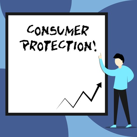 Word writing text Consumer Protection. Business photo showcasing Fair Trade Laws to ensure Consumers Rights Protection View young man standing pointing up blank rectangle Geometric background Stock Photo