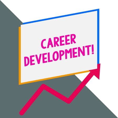 Conceptual hand writing showing Career Development. Concept meaning Lifelong learning Improving skills to get a better job Blank rectangle above another arrow zigzag upwards sale