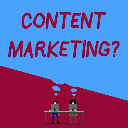 Handwriting text writing Content Marketing Question. Conceptual photo involves creation and sharing of online material Man with purple trousers sit on chair talk to fellow near computer table