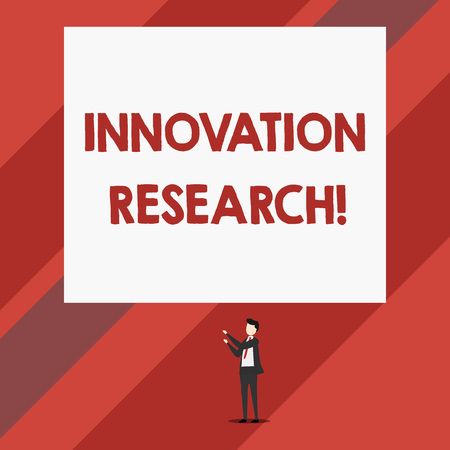 Writing note showing Innovation Research. Business concept for Existing Products Services come into New Being Isolated view man standing pointing upwards two hands big rectangle Stock Photo