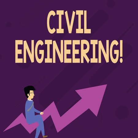 Word writing text Civil Engineering. Business photo showcasing Planning Design Building of roads bridges public buildings Businessman with Eyeglasses Riding Crooked Color Arrow Pointing Going Up Banco de Imagens