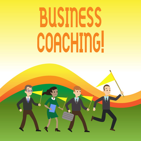 Writing note showing Business Coaching. Business concept for Helping employees become more active Consulting an expert Crowd Flags Headed by Leader Running Demonstration Meeting
