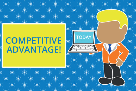 Writing note showing Competitive Advantage. Business concept for Company Edge over another Favorable Business Position Standing professional businessman holding open laptop right hand side 写真素材