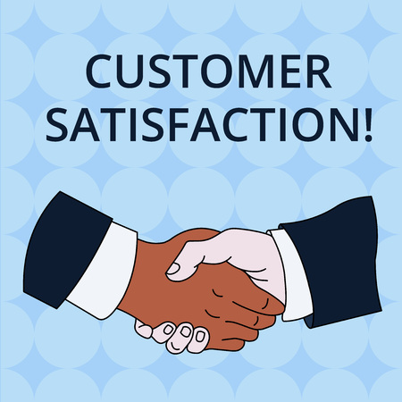 Word writing text Customer Satisfaction. Business photo showcasing Exceed Consumer Expectation Satisfied over services Hand Shake Multiracial Male Business Partners Colleagues Formal Shirt Suit