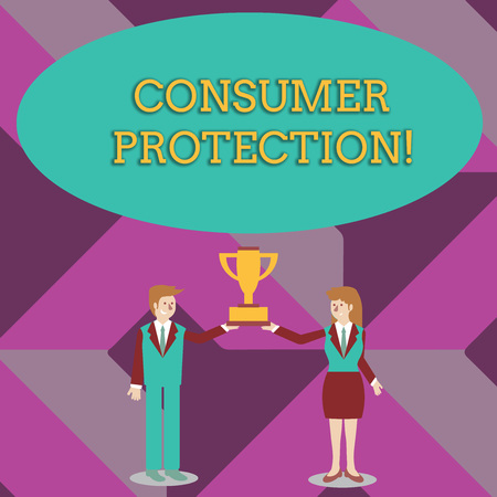 Writing note showing Consumer Protection. Business concept for Fair Trade Laws to ensure Consumers Rights Protection Man and Woman Business Suit Holding Championship Trophy Cup