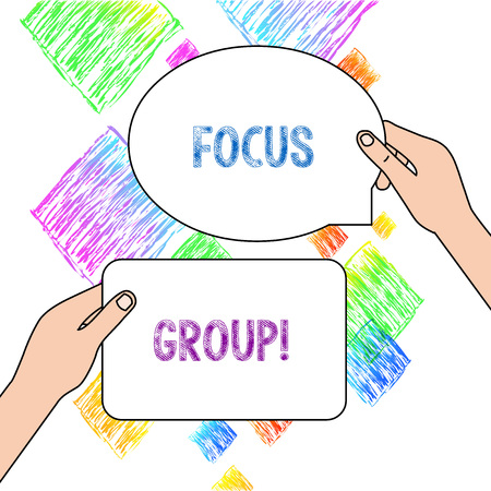 Text sign showing Focus Group. Business photo text showing assembled to participate in discussion about product Two Blank Figured Tablets Signs Held in Hands One Above Other Text Space