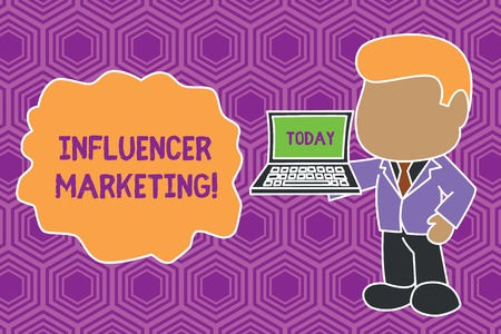 Text sign showing Influencer Marketing. Business photo showcasing Endorser who Influence Potential Target Customers Standing professional businessman holding open laptop right hand side