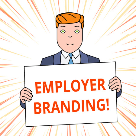 Handwriting text Employer Branding. Conceptual photo promoting company employer choice to desired target group Smiling Man Holding Formal Suit Big Blank Poster Board in Front of Himself