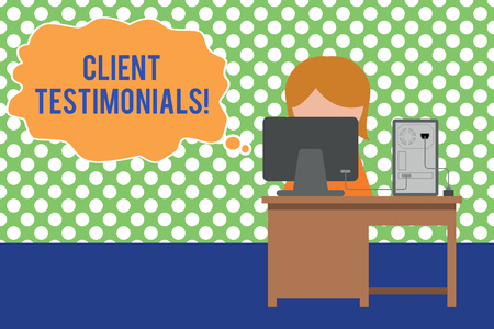 Text sign showing Client Testimonials. Business photo text Written Declaration Certifying demonstratings Character Value Young female working office sitting desktop computer office monitor photo