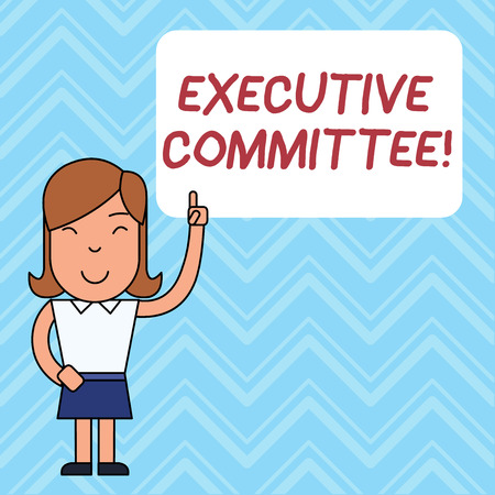 Word writing text Executive Committee. Business photo showcasing Group of Directors appointed Has Authority in Decisions Woman Standing with Raised Left Index Finger Pointing at Blank Text Box