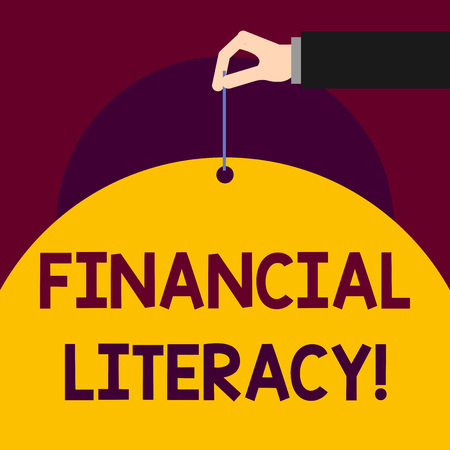 Writing note showing Financial Literacy. Business concept for Understand and knowledgeable on how money works Man hand hold big paper tie string thumb and index finger