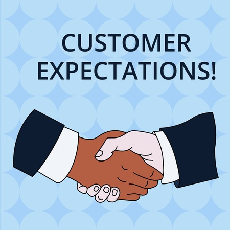 Word writing text Customer Expectations. Business photo showcasing Benefits a Client Expect Surpass the needs and wants Hand Shake Multiracial Male Business Partners Colleagues Formal Shirt Suit