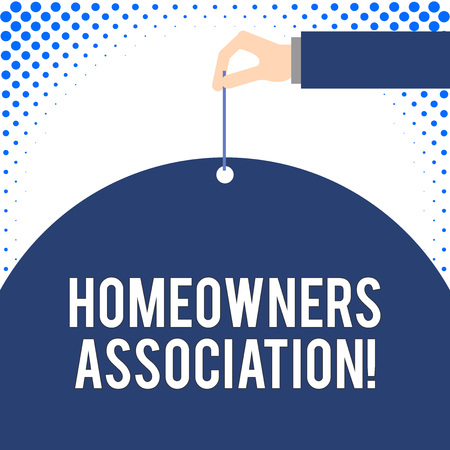 Handwriting text Homeowners Association. Conceptual photo Organization with fee for upkeeps of Gated Community Male hand arm needle punching big half blank balloon geometrical background
