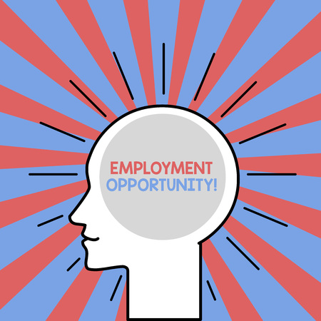 Text sign showing Employment Opportunity. Business photo showcasing no Discrimination against Applicant Equal Policy Outline Silhouette Human Head Surrounded by Light Rays Blank Text Space Banco de Imagens