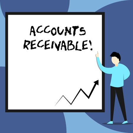 Word writing text Accounts Receivable. Business photo showcasing Legal Claim of Payment Money Owed to by Debtors View young man standing pointing up blank rectangle Geometric background