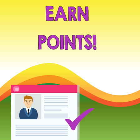 Text sign showing Earn Points. Business photo text collecting big scores in order qualify to win big prize Curriculum Vitae Resume of Young Male Candidate Marked by Colored Checkmark Stock Photo