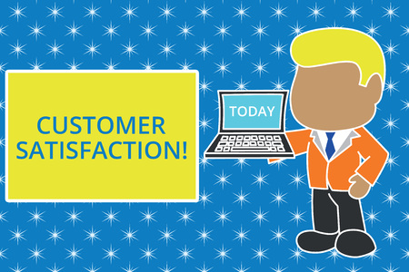 Writing note showing Customer Satisfaction. Business concept for Exceed Consumer Expectation Satisfied over services Standing professional businessman holding open laptop right hand side Stok Fotoğraf