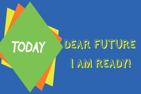 Writing note showing Dear Future I Am Ready. Business concept for state action situation being fully prepared Different colored paper sheets light background. Origami paper material