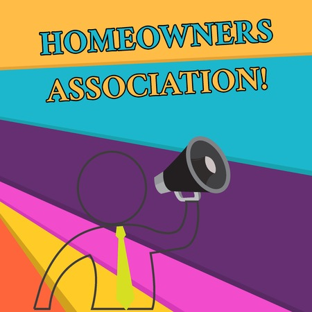 Handwriting text Homeowners Association. Conceptual photo Organization with fee for upkeeps of Gated Community Outline Symbol Man Loudspeaker Making Announcement Giving Instructions