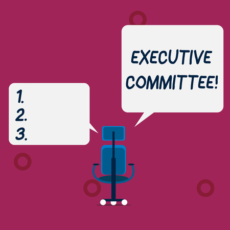 Conceptual hand writing showing Executive Committee. Concept meaning Group of Directors appointed Has Authority in Decisions Wheeled work chair with three wheels and two arms present speech Stock Photo