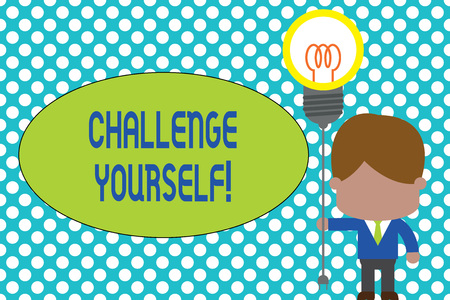 Word writing text Challenge Yourself. Business photo showcasing Setting Higher Standards Aim for the Impossible Standing man tie holding plug socket light bulb to connect idea. Startup