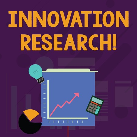Word writing text Innovation Research. Business photo showcasing Existing Products Services come into New Being Investment Icons of Pie and Line Chart with Arrow Going Up, Bulb, Calculator