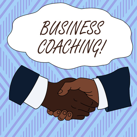Conceptual hand writing showing Business Coaching. Concept meaning Helping employees become more active Consulting an expert Hand Shake Multiracial Male Colleagues Formal Shirt Suit Stockfoto